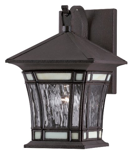 Westinghouse Lighting 6486400 One-Light Exterior Wall Lantern, Textured Rust Patina on Solid Brass and Steel with Water Glass and Tiffany Accents (Brass Solid Fixtures Westinghouse Outdoor)