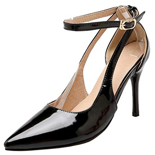 RAZAMAZA Black Mujer Correa Bombas Tobillo de Zapatos 1U4rq1