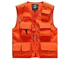 Mens 16 Pockets Jacket Outdoor Multi-pocket Pierced Fishing Vest Photo Journalist's Vest