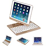 New ipad 9.7 keyboard Case,Seetop 360º Degree Rotatatle Wireless Bluetooth Backlit Keyboard Case with Swivel Stand Heavy Duty Flip Cover For ipad pro 9.7, iPad Air 1 2,New iPad 2017 (Gold/White)