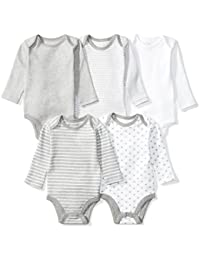 Baby Set Of 5 Organic Long-Sleeve Bodysuits