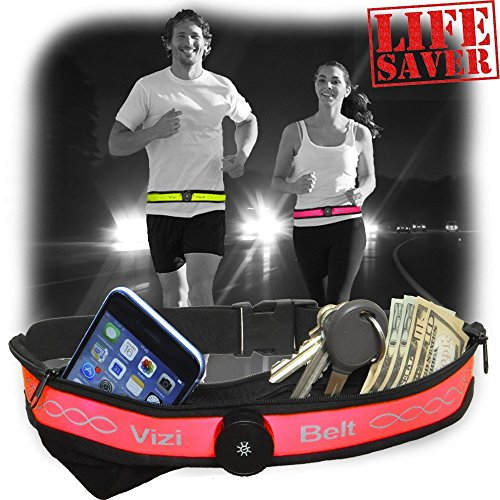 ViziBelt-Lifesaving Premium Quality Sports & Running Belt With Ultra Bright LED Light Function-Perfect Waist Pack For Men, Women and Children-Two Expandable Pockets-Holds Most Smartphones (Pink) (Battery Print Cart)