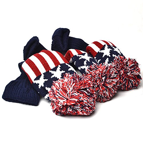 Knit Golf Club Covers - GOOACTION Drivers, Fairway Woods, Hybrids 3pcs American Flag Pom Pom Sock Set Vintange Knit Universal Golf Head Covers Fit for All Golf Brands