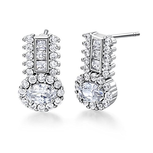FENDINA Exquisite 18K White Gold Plated Round Halo Earring Studs Cubic Zirconia Paved Birthstone Created Diamond Earrings for Women