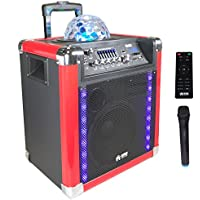"EMB PRO PKL550BK 8"" Rechargeable Portable Bluetooth Trolley 500W Max w/ LED Light Effects Boom Box USB/SD/FM/AUX w/ Trolley LED Lights 7 Hours Battery For Party/Karoke/DJ"