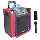 """EMB PRO PKL550BK 8"""" Rechargeable Portable Bluetooth Trolley 500W Max w/ LED Light Effects Boom Box USB/SD/FM/AUX w/ Trolley LED Lights 7 Hours Battery For Party/Karoke/DJ"""