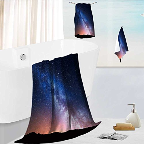 Cabana Night Light - Jiahonghome Cabana Beach Towel set night landscape with colorful milky way and yellow light at mountains starry sky with hills at Comfortable and Extremely Absorbent