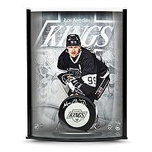 Wayne Gretzky Autographed Puck Triplex Curve Display - Upper Deck Certified - Autographed NHL Pucks