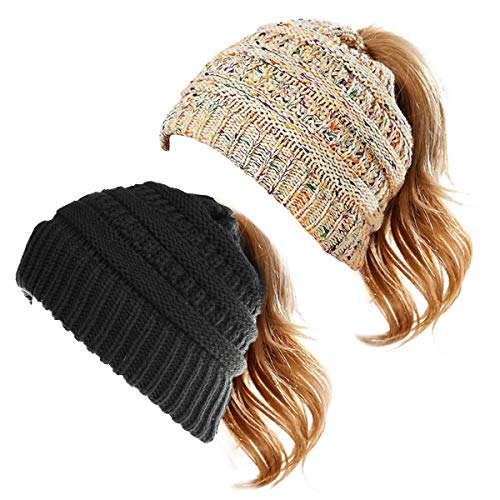 WharFlag Beanie Hat - Women Knit Winter Hat Stretch Ponytail Messy Bun BeanieTail Cable Knit Slouchy Beanie Hat
