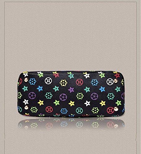 Bag Slung Shoulder Bag With Handbag,Black,Six Piece Set by SJMMBB (Image #3)