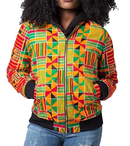 Short Biker African Bomber Coats Zipper Classic 7 Jacket Gocgt Womens Print BZqwnUT