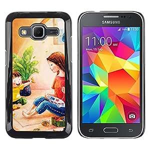 TopCaseStore / la caja del caucho duro de la cubierta de protección de la piel - Kids Girl Pastel Mother - Samsung Galaxy Core Prime SM-G360