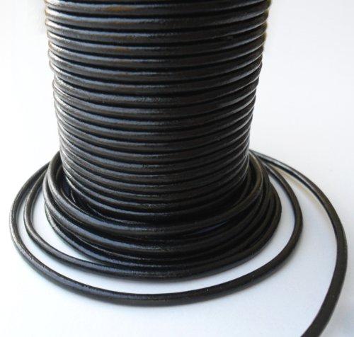 Auroris 10 m Rolle Lederband, rund Durchmesser 3 mm, schwarz