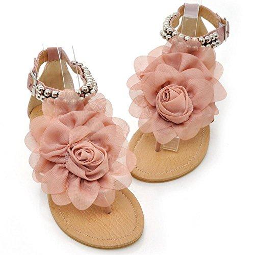 FANIMILA Mujer Big Flor Clip Toe Flip Flop Planos Sandalias Comodo Design Punta Abierta Hebilla Zapatos 3311 Rosado