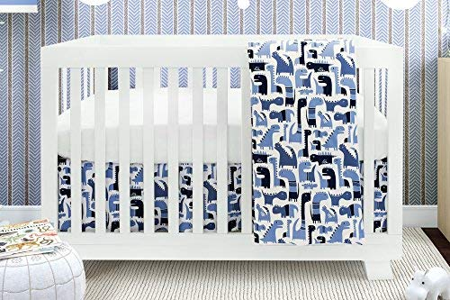 Bebelelo Baby Crib Bedding For Girls And Boys Blue and White Dinosaure Design 4-Piece Set Includes Fitted Sheet Crib Comforter Comforter Cover Skirt [並行輸入品]   B07HLF1SLY