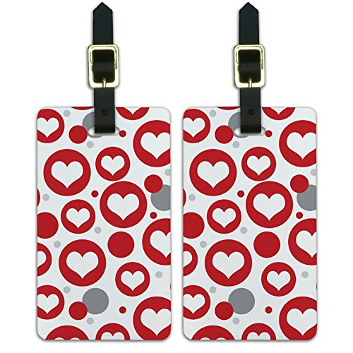 ry-On ID Tags Set of 2 - Celebration Wedding Marriage - Heart Love Wedding Bridal Valentines Anniversary (Heart Design Luggage Tags)