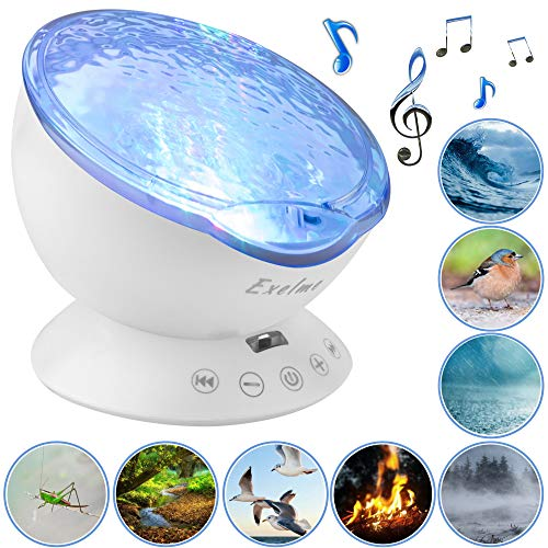 Night Light Projector Ocean Wave - Sound Machine with Soothing Nature Noise and Relaxing Light Show - Color Changing Wave Light Effects for Baby Kids Adults Bedroom Living Room (Baby Projectors)