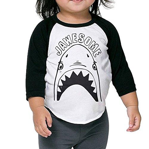 Jawesome Shark Mouth Child 3/4 Sleeve Raglan Baseball Tee Shirt 2-6 Toddler (Valentines Carters Shirt)