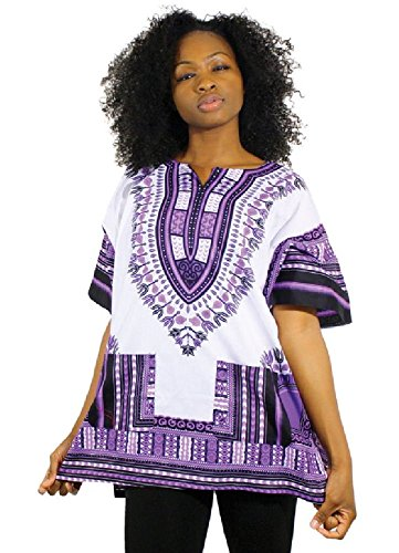 Traditional Thailand Style Dashiki - Available in Several Color Combinations (White with Lilac)XL
