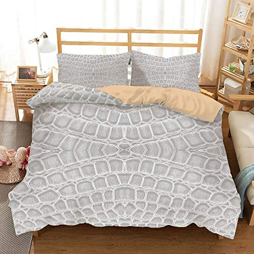 (SoSung Animal Print Decor Khaki Duvet Cover Set Twin/Twin XL Size,Crocodile Leather Pattern Material Fashion Forward Design Print,Decorative 3 Piece Bedding Set with 2 Pillow Shams,Gray)