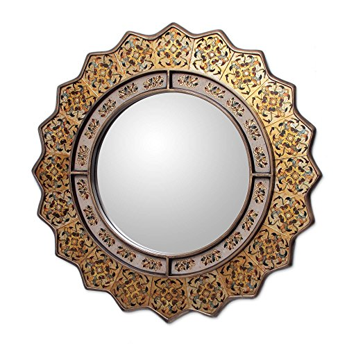 NOVICA Floral Glass and Wood Wall Mounted Mirror, , 'Marigold'