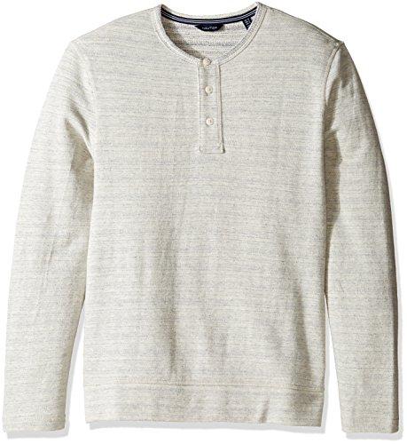 Nautica Men's Long Sleeve Active Fit Henley Shirt, Sea Salt Heather Medium