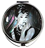 MADDesign Audrey Hepburn Makeup Mirror Mother of Pearl Metal Dual Compact Folding Magnify (Black White)