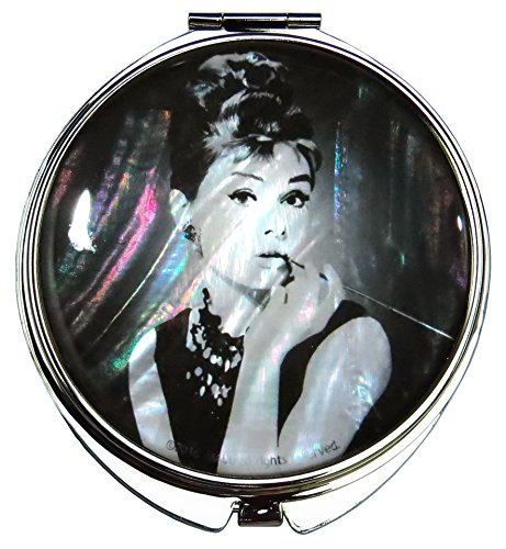 MADDesign Audrey Hepburn Makeup Mirror Mother of Pearl Metal Dual Compact Folding Magnify (Black White) by MADDesign