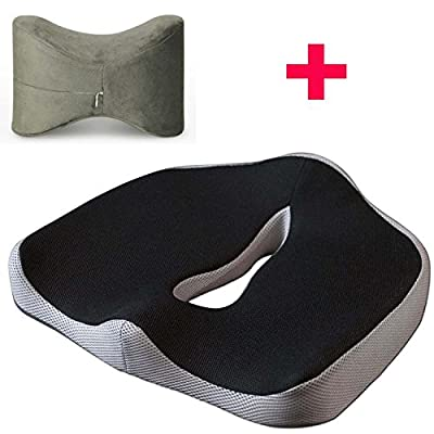 BNT 2016 Newest High Density Memory Foam Sciatica Car/Office Seat Cushion Chair Pads for Lower Back, Tailbone for Chair Seat Pad for Indoor, Outdoor, Home and Office, Computer, Couch, Driving, Auto Seat, Wheelchair, Stadium and More (Black&Gray 45x38x13cm
