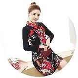 5sos pics - Cheongsams Dress Slim Print Traditional Chinese Dresses Mini Qipao Red,Large,Black