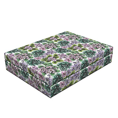 Violet African Flowering (Ambesonne Floral Dog Bed, Flowering Plants Gardening African Violet Peonies Hydrangea Foliage Illustration, Dog Pillow with High Resilience Visco Foam for Pets, 32