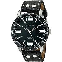 Peugeot Men's 'Big Black Face Aviator Sports' Quartz Black Leather Aviator Watch (Model: 2049SBK)
