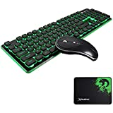 FELICON Wireless Keyboard and Mouse Combo Water Resistance 2.4G Green/Blue Backlit and Wireless Soundless Mouse with Nano USB Receiver for Laptop PC Mac (Black)