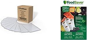 FoodSaver 1-Quart Vacuum Sealer, Bags, 90 Count   BPA-Free, Commercial Grade for Food Storage and Sous Vide & 8