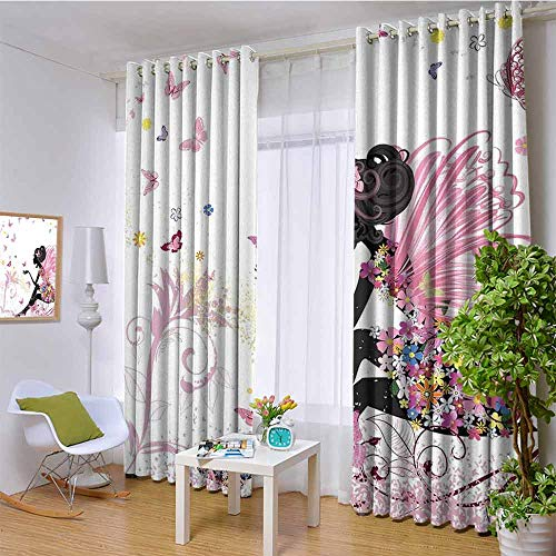 HouseLookHome Girls Treatment Solid Grommet curtainsFairy Girl with Wings in a Floral Dress Magical Fantasy Garden Flying Butterflies Room Darkening Blackout Window Curtains W52 x L95 inch Multicolor