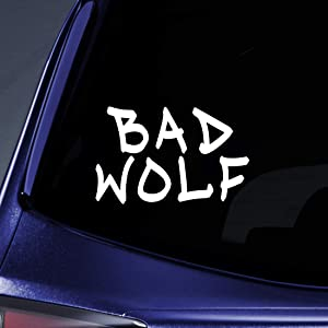 "Bargain Max Decals - Bad Wolf Graffiti DW Whovian Sticker Decal Notebook Car Laptop 5"" (White)"
