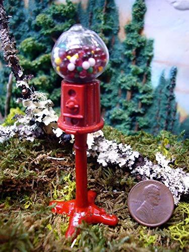 Miniature Red Metal Gumball Machine DA 2300-09 Fairy Garden Terrarium ()