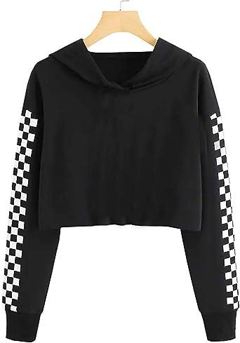 FUMIKAZU Kids Crop Tops Plaid Hoodies Long Sleeve Cute Pullover Sweatshirt with Pocket