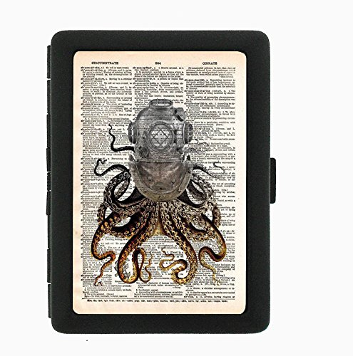 Lyfe Style Octopus World Map Design Cigarette Case 100's holds 16 Tobacco Cigar Holder Aluminum Pocket Box