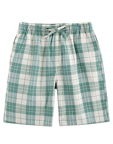 - TINFL Boys Plaid Check Soft 100% Cotton Lounge Shorts BSP-05-Green-YXL