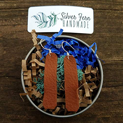 Country Chic Simple Leather Bar Earrings Joanna Gaines inspired rustic minimalist jewelry