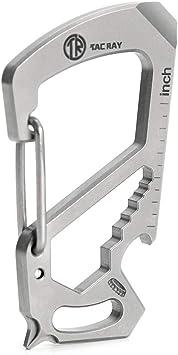 TACRAY Titanium Keychain Multitool Carabiner Bottle Opener Wrench Screw Driver EDC Key Clip