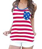 FAVOLOOK Women Patriot American Flag Racerback Sport Tank Top Shirt Red Size XXL