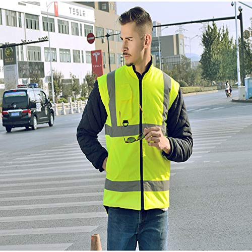 GSHWJS- trash can Reflective Cotton Coat High Speed Traffic Warning Duty Safety Jacket, Green Reflective Vests (Size : M) by GSHWJS- trash can (Image #3)