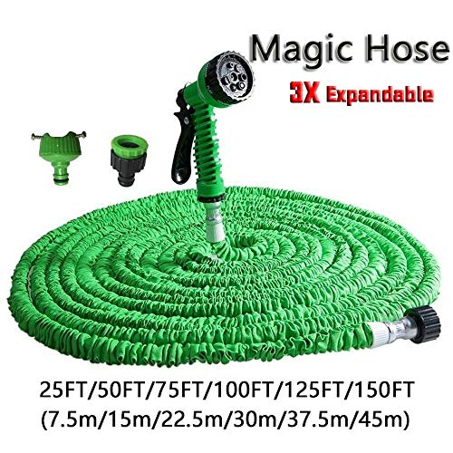 Speedy Panther 25ft/50ft/75ft/100ft/125ft/150ft Expandable Garden Hose for Car Wash Garden Watering Multi-Function Water Pipe Kit with 7-in-1 Spray Gun Nozzle 2 Connector (50FT (15m))