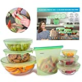 EasyHoming Silicone Stretch Lids Set | PREMIUM QUALITY | 7 Packs Multi Purpuse | 10x More Streatchable and Durable l 6 Reusable Lid-Bowl Food Covers | 1 FREE Bag Food Storage | Your Convenient Saver