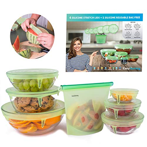 7 Packs Multi Purpose - 10x Stretchable and Durable,6 Silicone Reusable Stretch Lid-Bowl Food Cover,1 Bonus Bag,Your Convenient Storage Saver, Premium Quality Designed in ITALY-UPGRADE2019 EASYHOMING