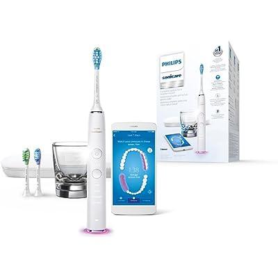 Philips Sonicare DiamondClean Smart HX9903/03 - Cepillo de dientes eléctrico con App de formación personalizada, sensor de presión, 4 modos, 3 cabezales, vaso cargador y estuche, color blanco