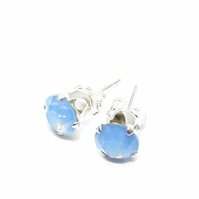 3f2aca374802 925 Sterling silver stud earrings made with Air Blue Opal crystal from  SWAROVSKI®. London gift box.  pewterhooter  Amazon.co.uk  Jewellery