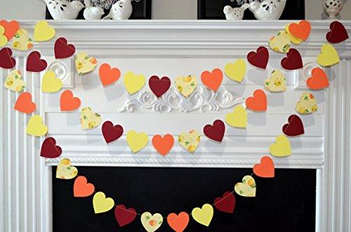 (Fall heart garland, fall leaf banner, fall pumpkin decorations, fall wedding decor, fall bridal shower decorations)